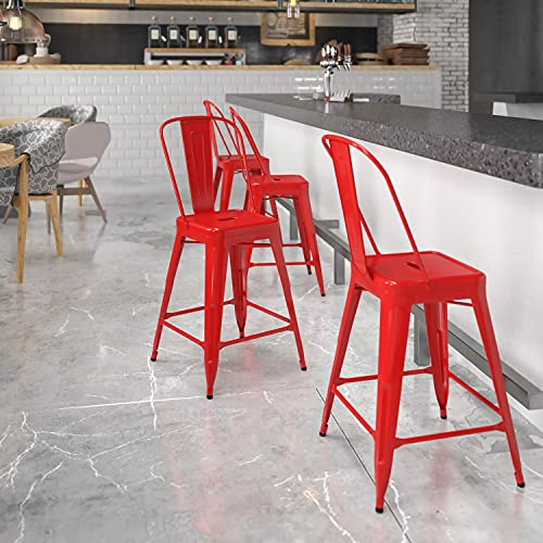 Red Metal Backed Bar Stools With Footrest