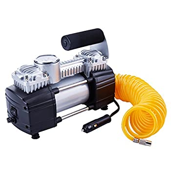 TIREWELL 12V Tire Inflator-Heavy Duty Double Cylinders Direct Drive Metal Pump 150PSI Compressor with Battery Clamp and 5M Extension Air Hose SUVs/Trucks/Vans/RVs