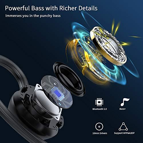 iporachx Auriculares Inalámbricos Bluetooth 5.0, TWS Deportivos Auriculares con Micrófono IP7 Verdadero Sonido Estéreo Auriculares LED Estuche de Carga 2600mah, 100Horas de Duración, Control Táctil miniatura