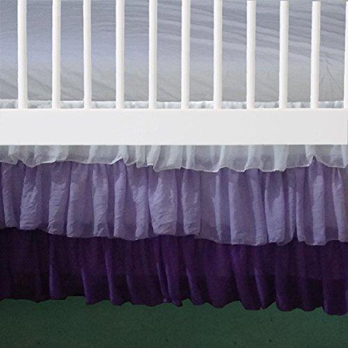 """3 Layer White Lilac purple Ruffled Chiffon Mini Crib Skirt 3 sided 16"""" drop"""