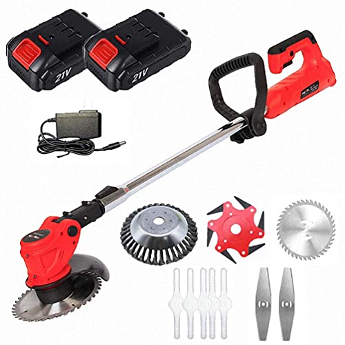 Handheld Cordless String Trimmer Garden Edger Tool, 21V 4000Mah Lithium-Ion Portable Walk Behind Grass Brush Cutter Lawn Mower W/Replace Cutter Head,2 Battery