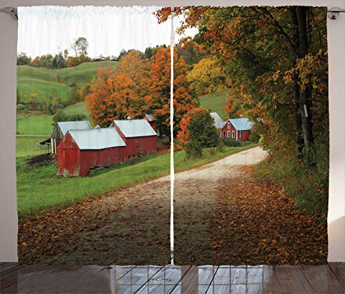 """Lunarable Farmhouse Curtains, Country Road Fall Season Arrangement Pastoral Nature Photography Vermont USA, Living Room Bedroom Window Drapes 2 Panel Set, 108"""" X 108"""", Multicolor"""