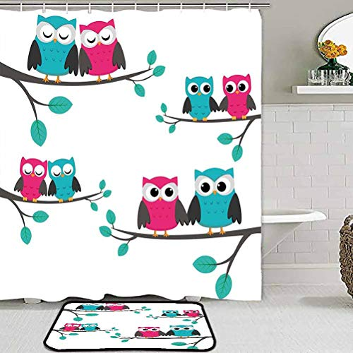ParadiseDecor Shower Curtain Sets with Non-Slip Rug Nursery,Couples of Owls Sitting on Spring Branches Cute Funny Cartoon Characters,Turquoise Blue Pink for Bedroom Kids Rooms Living Room Playroom