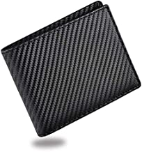 Mens Wallet, TERSELY Carbon Fiber RFID Blocking Card Holder Bifold Stylish Wallets with ID Window Gifts for Men (Black)