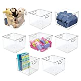 mDesign Plastic Home Storage Organizer Bin for Cube Furniture Shelving in Office, Entryway, Closet, Cabinet, Bedroom, Laundry Room, Nursery, Kids Toy Room - 7.5' High- 8 Pack - Clear