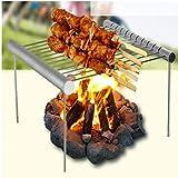 TOSSPER Portable Acciaio Inox Grill Barbecue Barbecue Pieghevole Pocket Mini BBQ Grill Accessories Barbecue per la casa/Parco usando Esterno
