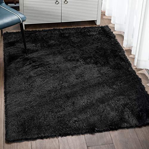 Veken Fluffy Shag Area Rugs for Living Room Bedroom Home Decor Nursery, Machine Washable Indoor Carpets for Girls Boys Kids Room 4x5.3 Feet, Black