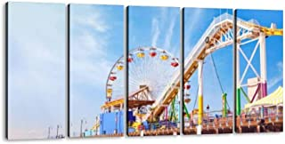 santa monica pier in california american attractionss and pictures 5 Pieces Canvas Prints Wall Art Paintings Modern Abstract Geometry Wall Pictures for Living Room Bedroom Decoration Wall Posters
