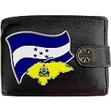 Honduras Drapeau Carte Armoiries Klassek Portefeuille Homme Vrai Cuir Noir RFID Blocage Poche à Monnaie avec Boîte en Métal