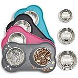 ciotole per cani e gatti in acciaio inossidabile 2x200ml, 2 ciotole per mangiatoie per animali domestici con base in tappetino silicone antiscivolo,assicurazione,durevole (grigio)