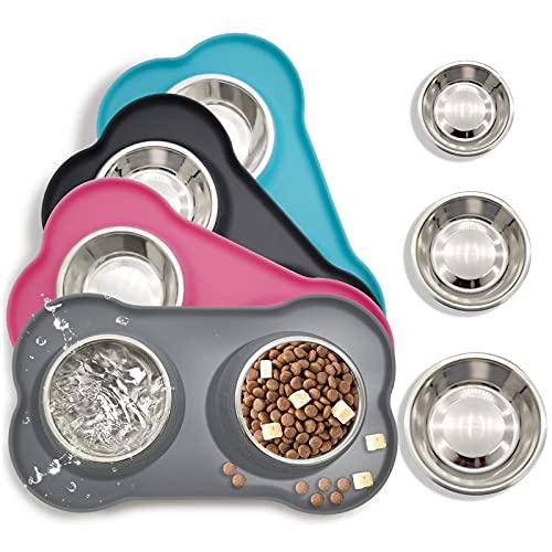 PeroBuno Futternapf Hund,2x400ml doppelt hundenapf Edelstahl Katzen napfset,Nicht kleckern Rutschfesten silikon tablett Matte,Haustier Lebensmittel Wassernapf,grau