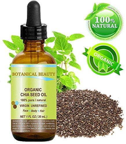 Chia huiles de graines BIO. 100% / non dilué / froid naturel huile pure pressée pour la peau, les cheveux, les lèvres et les soins des ongles - 30ml. 'Une source remarquable et stable des oméga-3,6,9, vitamines B et des minéraux.'