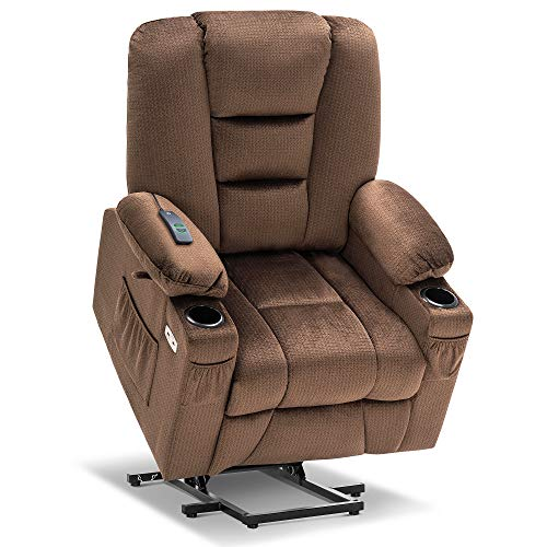 Mcombo Electric Power Lift Recliner Chair with Massage and Heat for Elderly, Extended Footrest, Hand Remote Control, Lumbar Pillow, Cup Holders, USB Ports, Fabric 7529 (Brown)