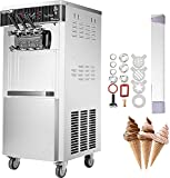 VEVOR 2200W Commercial Soft Ice Cream Machine 3 Flavors 5.3 to 7.4Gallons per Hour Auto Clean LED Panel Perfect for Restaurants Snack Bar supermarkets, Sliver
