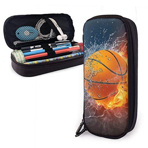 El baloncesto nunca se detiene Estuche de cuero para lápices Estuche para lápices de gran capacidad Porta lá
