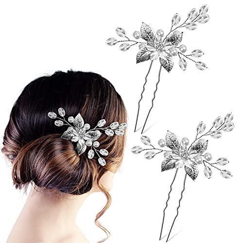 2 Horquillas de Pelo Tocados de Flores de Novia de Plata Pasadores...