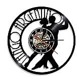ERTOQ Reloj de Pared de Vinilo Pareja de Baile Record Clock Vintage Registro de Vinilo Regalo Hecho a Mano hogar Decoración 7 Colores luz Nocturna 30x30cm- Sin LED