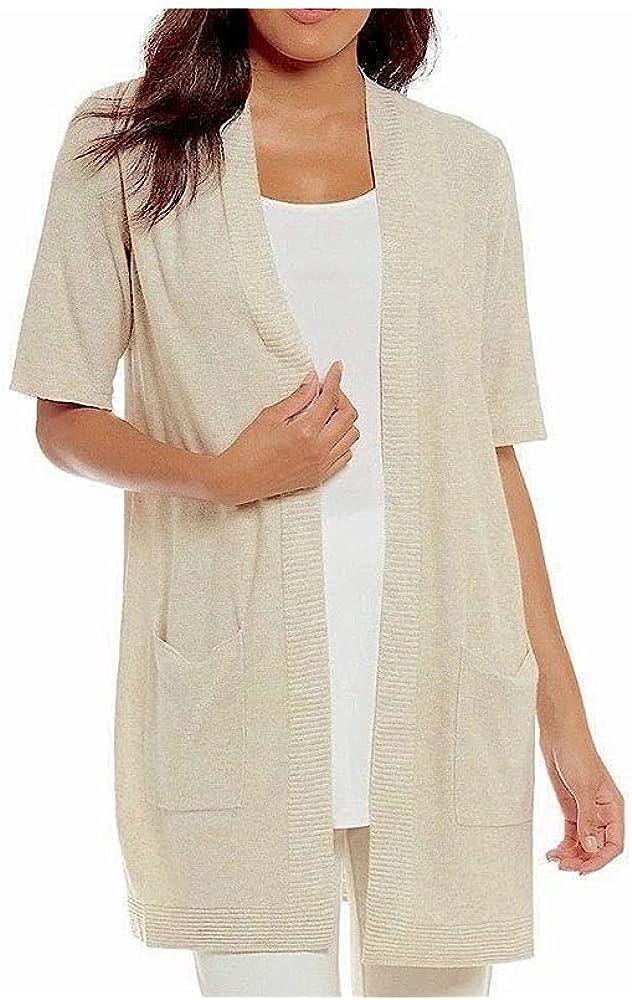 Eileen Fisher Maple Oat Sleek Tencel Merino Knit Simple Cardigan, Size 2X MSRP 218