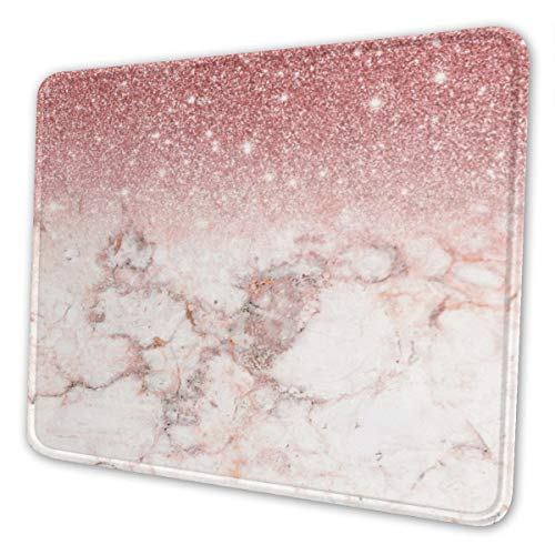 Pink Marble Mouse Pad Cute, Rose Gold Bling Marble Design Customized Mousepad with Stitched Edge Non-Slip Rubber Large Gaming Mouse Pad for Laptop, Computer & Office, 11.8 X 9.8 X 0.12 Inches