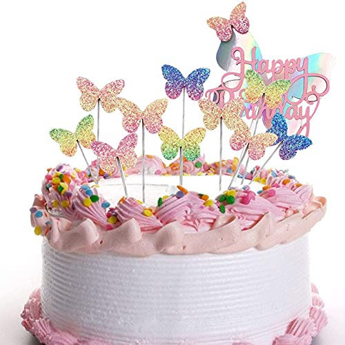 11 Pezzi Cake Topper Farfalla Buon Compleanno, Farfalle Colorate Decorazioni per Torte Topper, per Compleanno Baby Shower Anniversario Matrimonio
