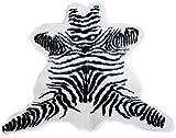 Zebrafell Teppich mit Zebramuster Kunstfell wie vom Zebra als Dekoration Vorleger Dekoteppich...