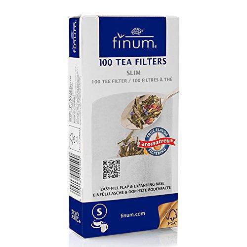 Finum - Filtros de te (100 Unidades, Capacidad maxima para 4 Tazas), Blanco, 75 x 155 mm