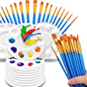 50-Pieces Hulameda Nylon Paint Brushes with 12-Count Paint Pallets