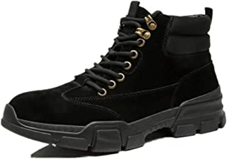 Xujw-shoes store, 2019 Mens New Lace-up Flats Mens Fashion Combat Boots for Men High Top Boot Lace Up Style Leather Matte Extraordinary Comfort Technology Anti Slip Outdoor Round Toe Comfortable