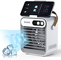 SHANDII Portable Air Conditioner, Mini Evaporative Cooler, Personal Table Fan with Cell Phone Stand/Holder, 3 Speeds 2400...