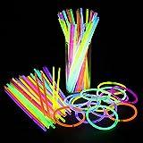 100pcs Luminosos a Granel Suministros para Fiestas Paquete Divertido para Fiestas de 8' Barras Luminosas Premium con Conectores para Pulseras Collares Niños y Adultos