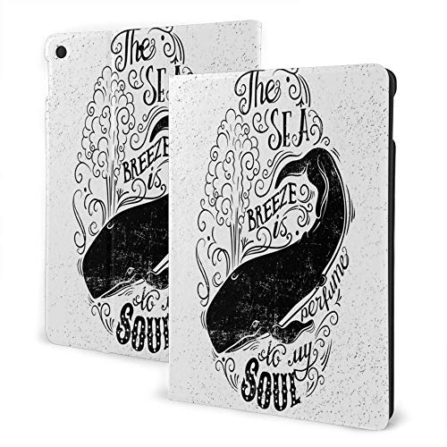 Case For Ipad 8/7 (10.2-Inch, 2020/2019 Model, 8th / 7th Generation), Ipad Air3 & Pro 10.5inch Print Theme - Whale Breeze Is Perfume To My Soul Phrase With Vintage Label Whale Life Graphic Black White