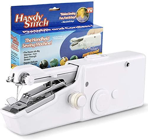 WH-ENTER Handy Stitch Mini máquina de Coser - Productos de Costura para Principiantes portátiles y de Mano - Práctico Dispositivo de Costura
