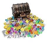 POHOVE Coffre au trésor en bois - Jouet pour enfants - 17 x 14 x 13,5 cm - Avec pièces en or lastique - Pierres précieuses, bagues et boucles d'oreilles