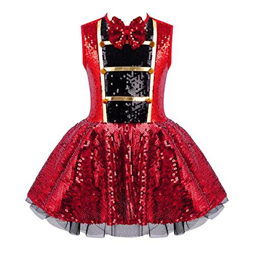 IEFIEL Vestido Lentejuelas Nia de Danza para Fiesta Navidad Disfraz de Maestra de Circo Vestido Sin Manga de Baile Latino Disfraz de Halloween Carnaval Rojo 9-10 aos