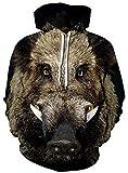 Ocean Plus Hommes Sweat à Capuche 3D Hoodie Loup Lion Impression Pull molletonné...
