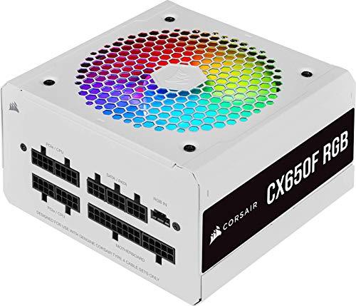 Corsair CX650F RGB, 80 PLUS Bronze Vollständig Modulares ATX-Netzteil (80 PLUS Bronze-Zertifizierte, 120-mm-RGB-Lüfter, Optimiert für Leisen Betrieb, 105 °C Kondensatoren, Kompaktes Gehäuse), Weiß