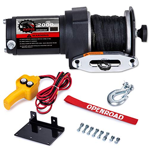 OPENROAD 2000 lb ATV Winch with Synthetic Rope