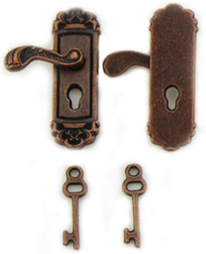 1 Pair Dollhouse Furniture Miniature Door Lock Fancy Mini Doll House Door Knobs Toy Model with Long Door Handle (Bronze)