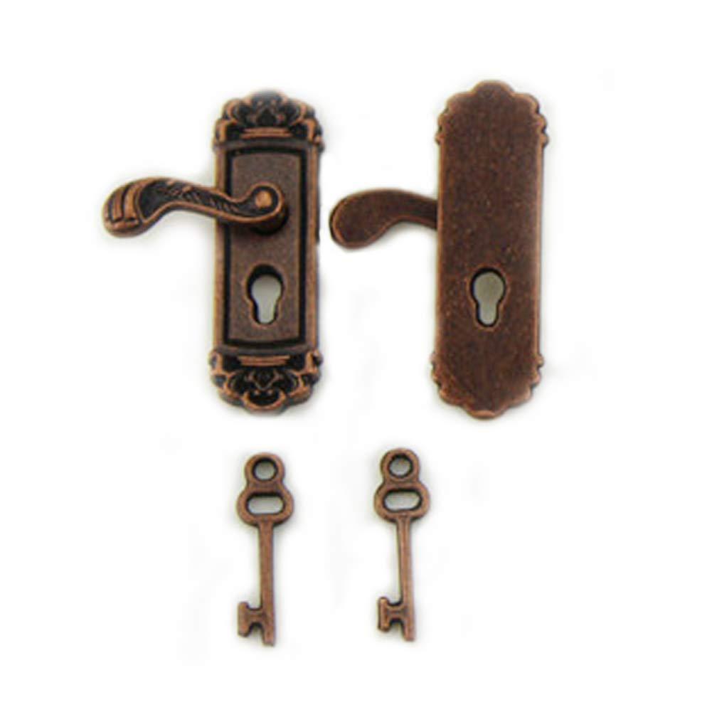 2PCS Delicate Dollhouse Miniature Door Lock Fancy Mini Doll house Door Knobs Vivid Toy Model With Long Door Handle Bronze