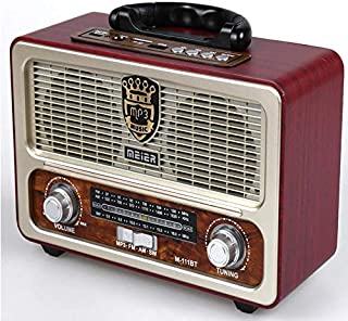 Portable Antique Radio with modern features AM/FM/SW Frequency. USB/SD/TF Card Slot, AUX, Bluetooth Remote