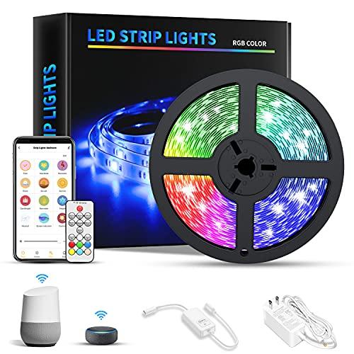 RGB Led Strip Lights for Bedroom Dekala 16.4ft Smart LED Light Strip with Alexa Google Home for Smart Home Devices Music...