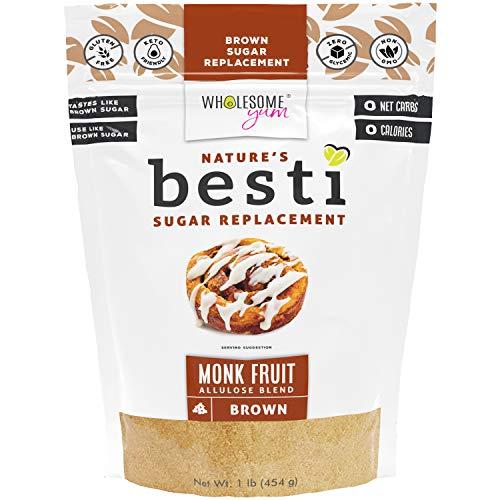 Wholesome Yum Besti 1:1 Natural Brown Sugar Replacement - Keto Brown Monk Fruit Sweetener With Allulose (16 oz / 1 lb) - Non GMO, Zero Carb, Zero Calorie Brown Sugar Substitute