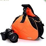 Caden - Funda para cámara fotográfica con diseño de triángulo para DSLR Sony Canon Rebel Powershot, Nikon Coolpix, Kodah, Olympus, Pentax naranja