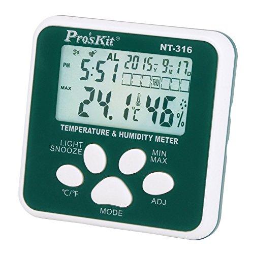 Pro'skit NT-316 Multifunctionele Digitale Hygrometer Vochtigheidsmeter Binnen Elektronische Thermometer Met Alarm Klok En Kalender