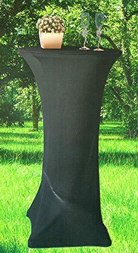 Unbekannt Stretch-Stehtischhusse Ø 60cm Tischdecke Bezug Bistrotisch Bartisch Partytisch, Farbe:schwarz