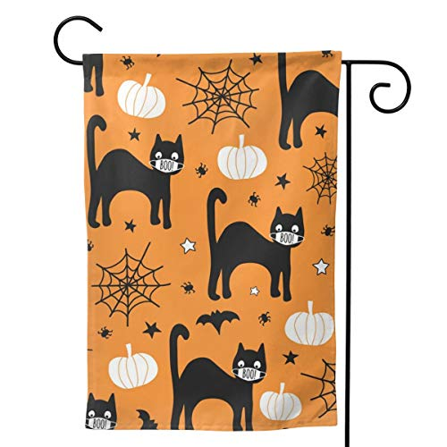 HXJIULI Halloween 2020 coronavirus Pattern Black cat Garden Flag Double Sided House Yard Banner Outdoor Decor 28x40 Inch