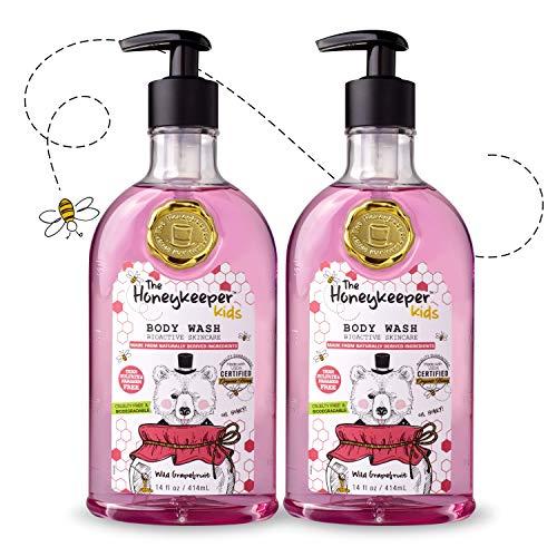The Honeykeeper Honey-Based Kids Wild Grapefruit Body Wash (14 Ounces), 2-Pack