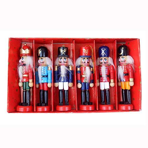 Yuzhijie Adorno de Navidad cascanueces soldado marioneta 12 cm de madera para niños soldado decoración de escritorio