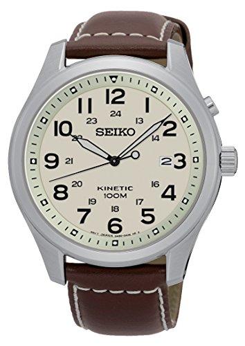 Seiko Orologio Analogico Kinetic Uomo con Cinturino in Pelle SKA723P1