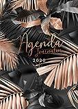 Agenda 2020 - 12 mois journalier 2020 - format A5 - janvier à décembre 2020 - planificateur, semainier simple & graphique, motif Feuille de Palmier Tropical or rose et noir